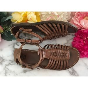 Frye Gladiator Huarache Straps Brown Sandals 8.5